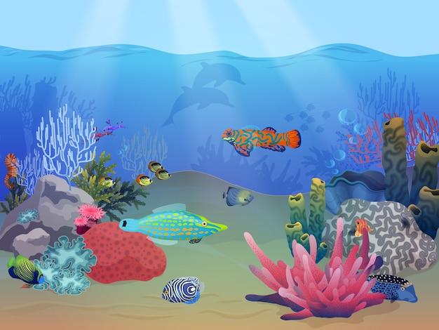 Paesaggio subacqueo mare oceano Vettore Premium