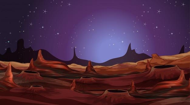 Paesaggio sul pianeta alieno Vettore gratuito