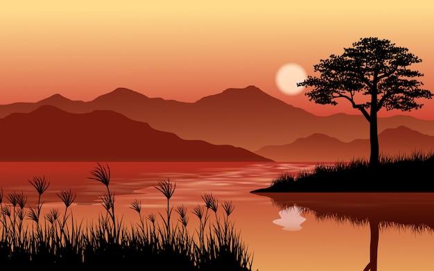 Paesaggio tramonto all'aperto con fiume e colline Vettore Premium