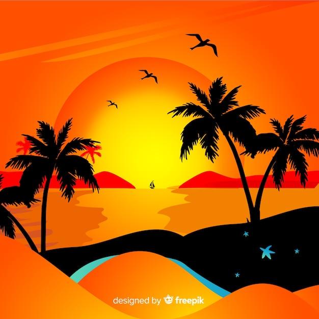 Paesaggio tramonto spiaggia gradiente Vettore gratuito