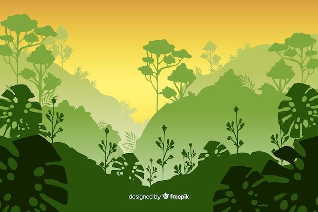 Paesaggio tropicale della foresta con la pianta di monstera Vettore gratuito