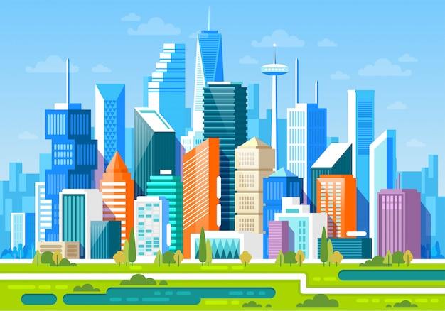 Paesaggio urbano con alti grattacieli e metropolitana Vettore Premium