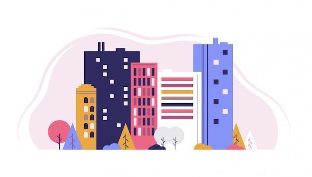 Paesaggio urbano con grandi e piccoli edifici e alberi e cespugli. illustrazione grafica vettoriale di stile design piatto Vettore Premium