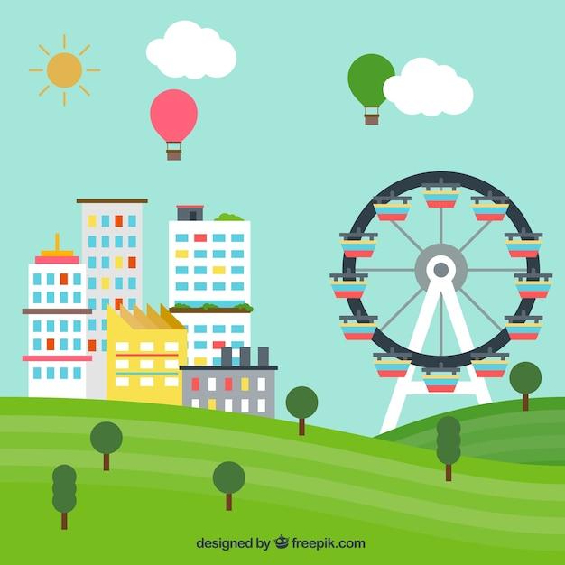 Paesaggio urbano con una grande ruota Vettore gratuito