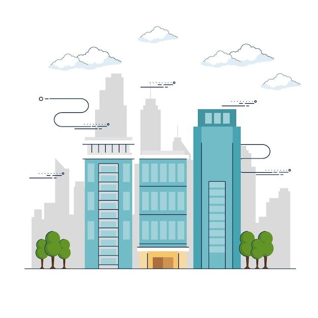 Paesaggio urbano della città Vettore Premium