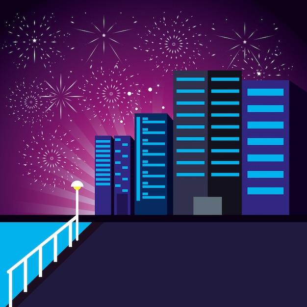 Paesaggio urbano di scena con fuochi d'artificio Vettore Premium