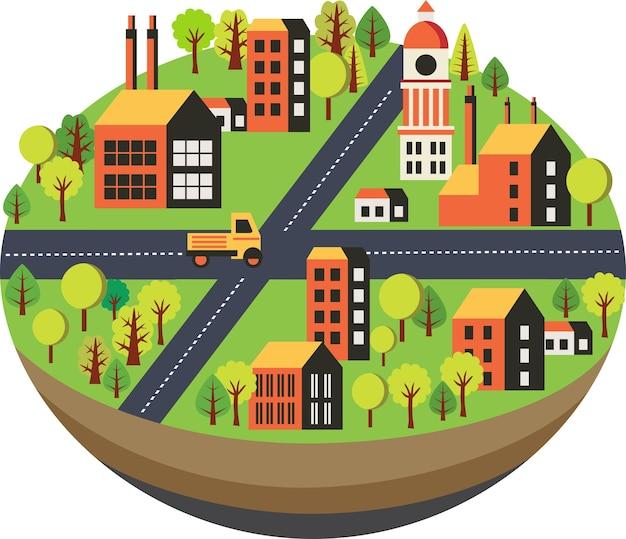 Paesaggio urbano in uno stile piatto con case Vettore Premium