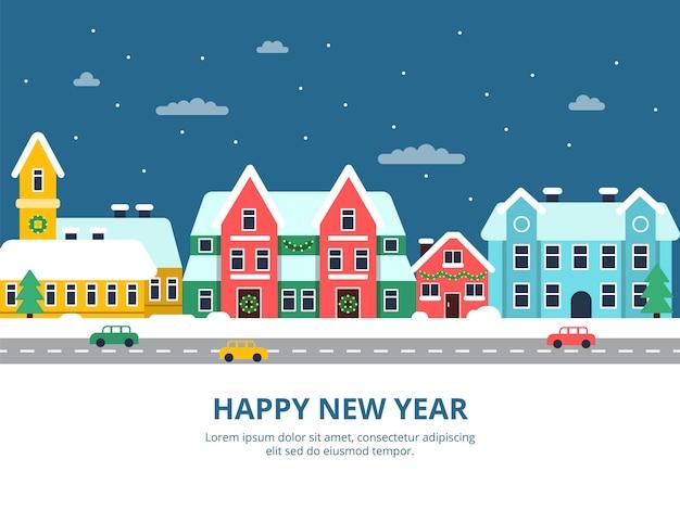 Paesaggio urbano invernale. notte delle costruzioni della città del tetto di snowy con le illustrazioni della città di festa di natale dei fiocchi di neve Vettore Premium