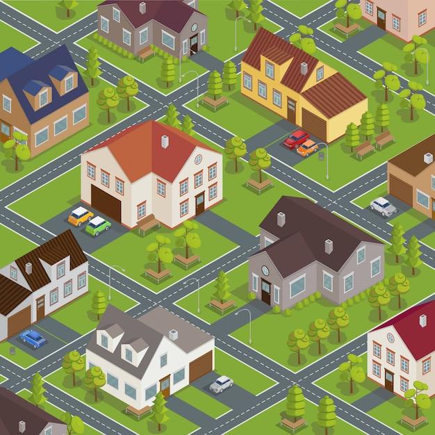 Paesaggio urbano isometrico. edifici isometrici. case isometriche. cottage isometrici. città isometrica. case moderne. auto isometriche. illustrazione vettoriale Vettore Premium