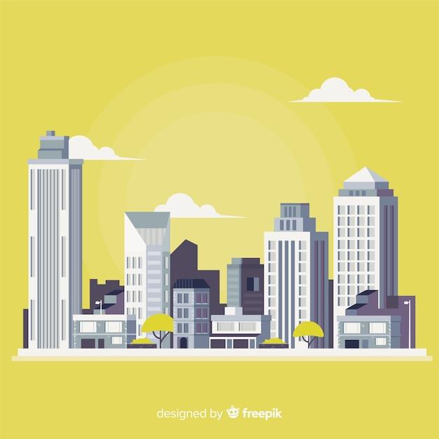 Paesaggio urbano piatto con edifici per uffici Vettore gratuito