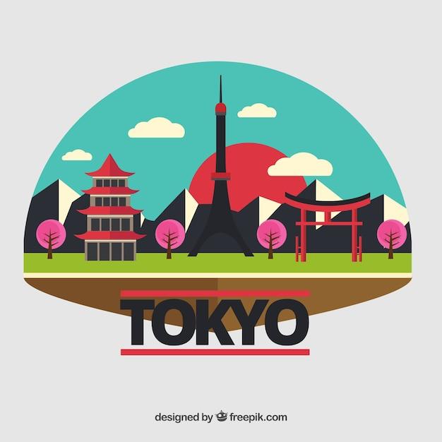 Paesaggio variopinto di tokyo Vettore gratuito