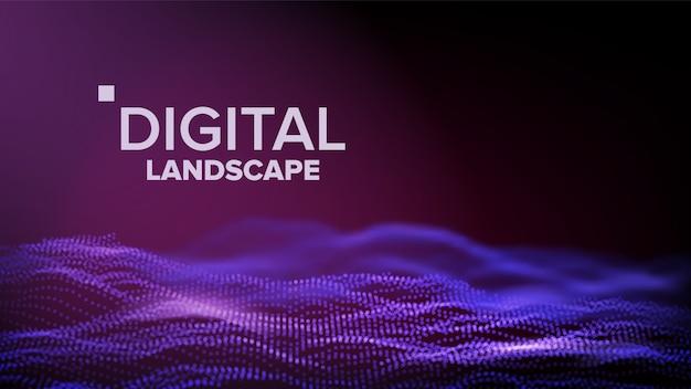 Paesaggio viola digitale Vettore Premium