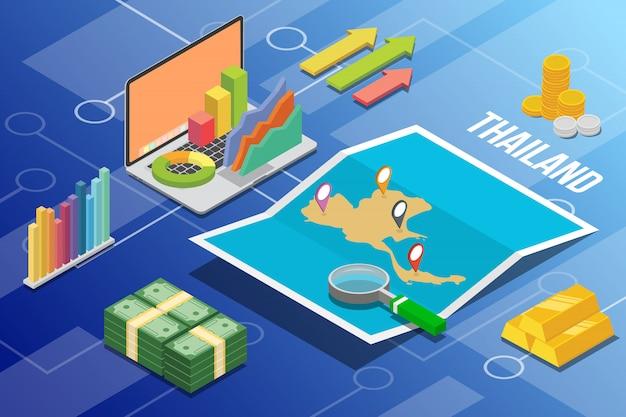 Paese di crescita di economia aziendale isometrica della thailandia Vettore Premium