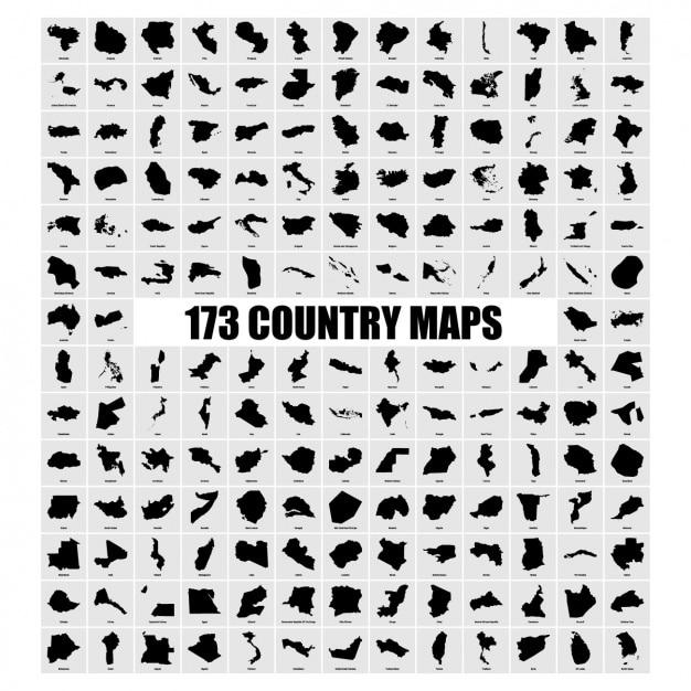 Paese mappe collezione Vettore gratuito