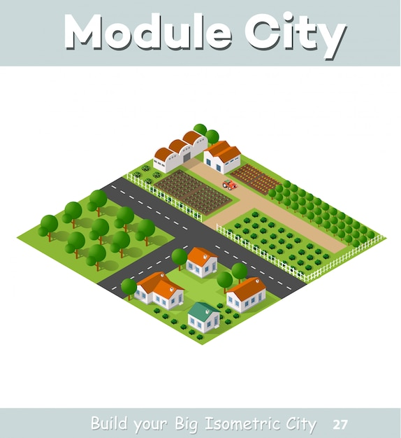Paese villaggio di case a schiera e case rurali con strade, strade, alberi Vettore Premium