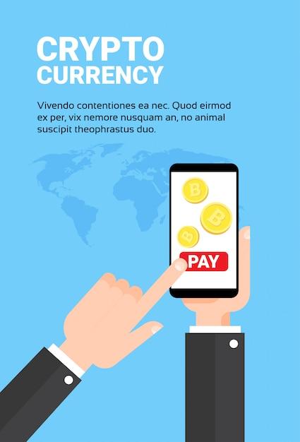 Paga dello smart phone della tenuta della mano dell'uomo di affari con il concetto mobile di tecnologia di valuta di attività bancarie di attività bancarie mobili di scambio di bitroins Vettore Premium