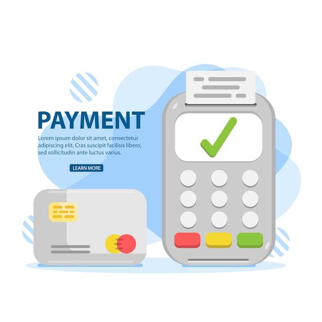 Pagamento. carta di credito tramite terminale pos, pagamento approvato. Vettore Premium