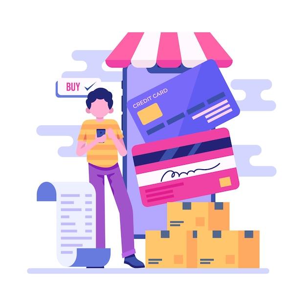 Pagamento con carta di credito concept per landing page Vettore gratuito