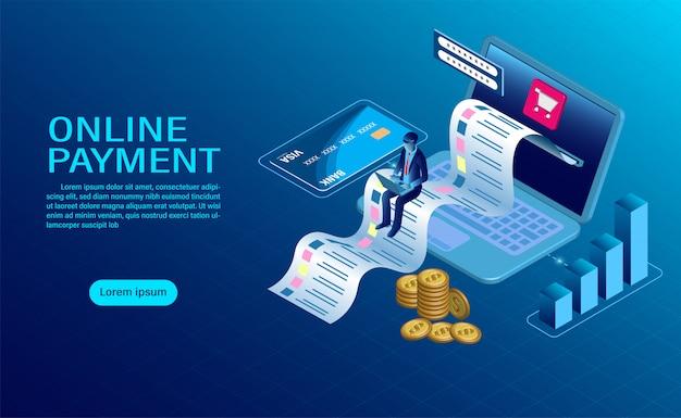 Pagamento online con computer. protezione del denaro nelle transazioni laptop. design piatto moderno isometrico Vettore Premium