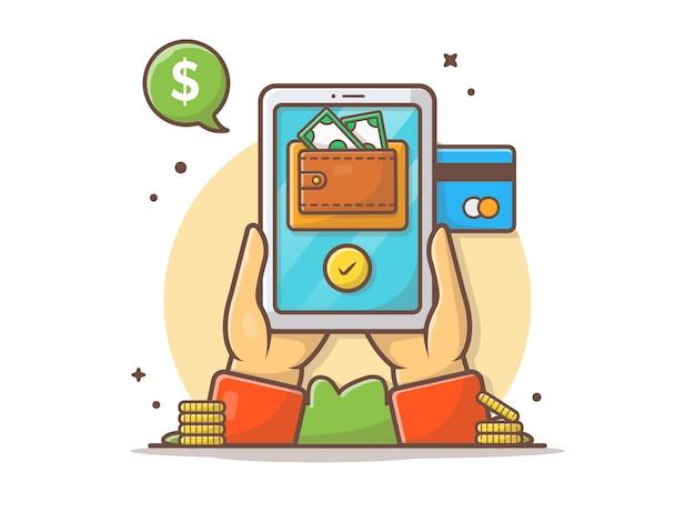 Pagamento online con il portafoglio e la carta di credito sull'illustrazione dell'icona di vettore della compressa Vettore Premium