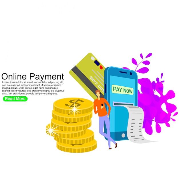 Pagamento online, trasferimento di denaro, portafoglio mobile. modello di sfondo Vettore Premium