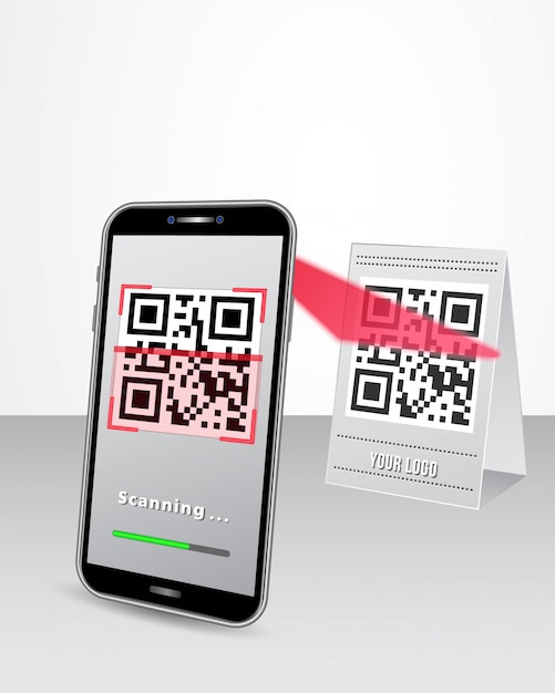 Pagamento senza codice qr code tramite smartphone nel negozio Vettore Premium