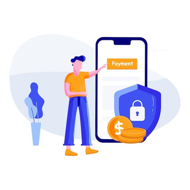 Pagamento sicuro - concetto di servizi bancari online Vettore Premium