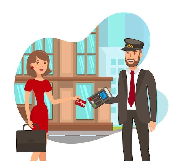 Pagando per l'illustrazione di vettore piano di servizio di taxi Vettore Premium