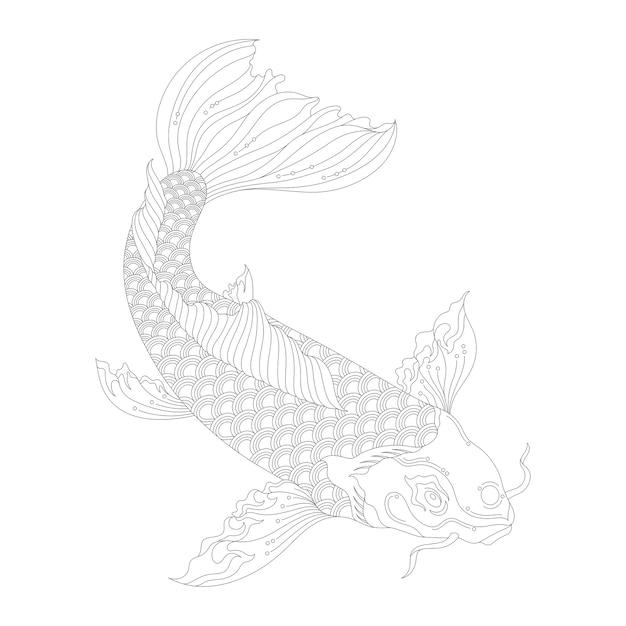 Pagina da colorare adulto koi giapponese Vettore gratuito