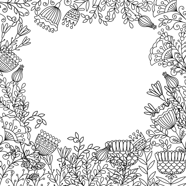 Pagina da colorare con cornice di fiori doodle Vettore Premium