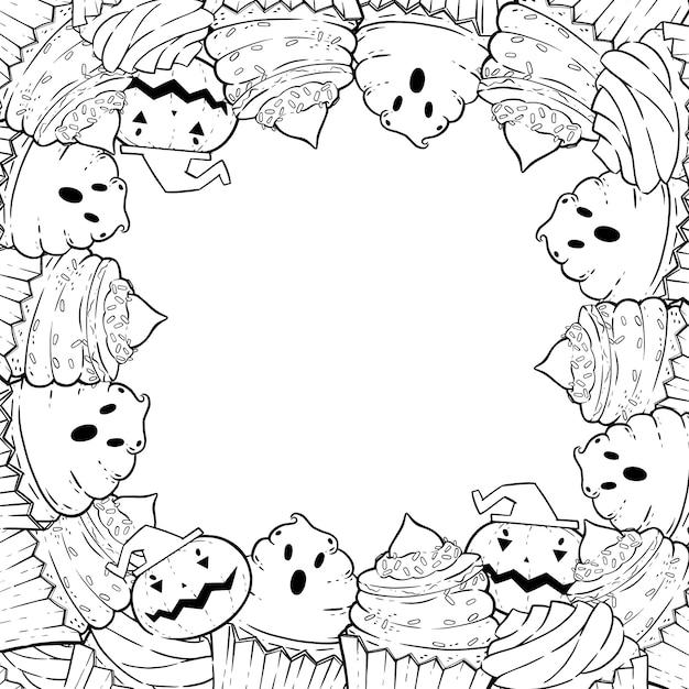 Pagina da colorare: cornice con cupcakes di halloween, crema, pipistrello, zucca, cappello da strega. Vettore Premium