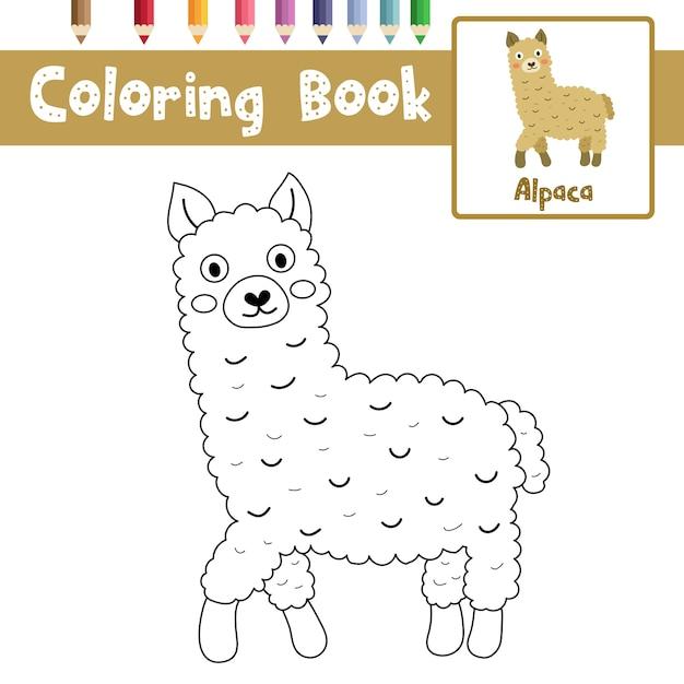 Pagina da colorare di alpaca Vettore Premium