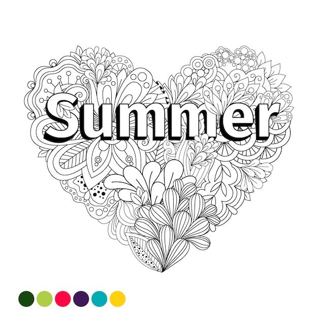 Pagina da colorare di doodle fiori cuore Vettore Premium