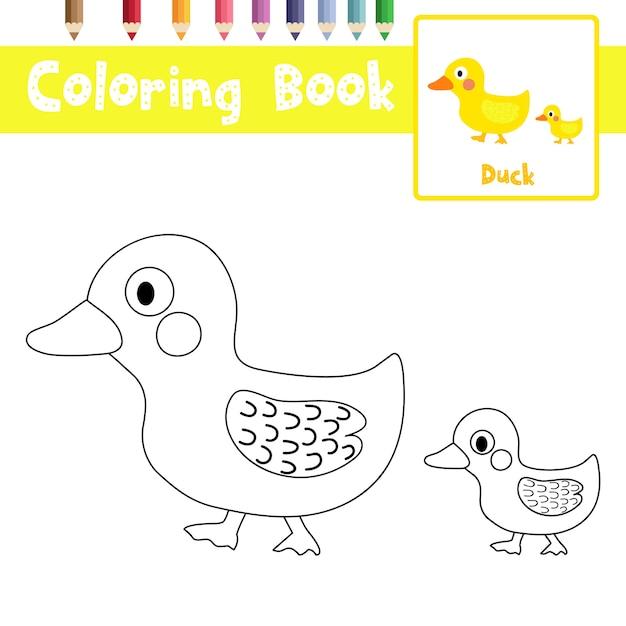 Pagina da colorare di mamma e piccola anatra Vettore Premium