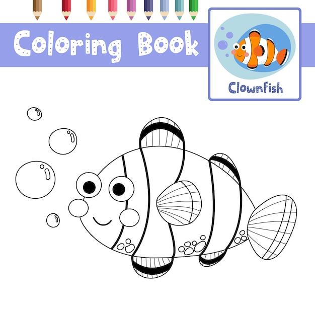 Pagina Da Colorare Di Pesce Pagliaccio Scaricare Vettori Premium