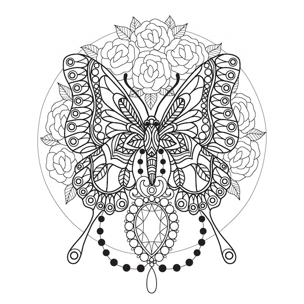 Pagina da colorare farfalla e diamanti per adulti Vettore Premium