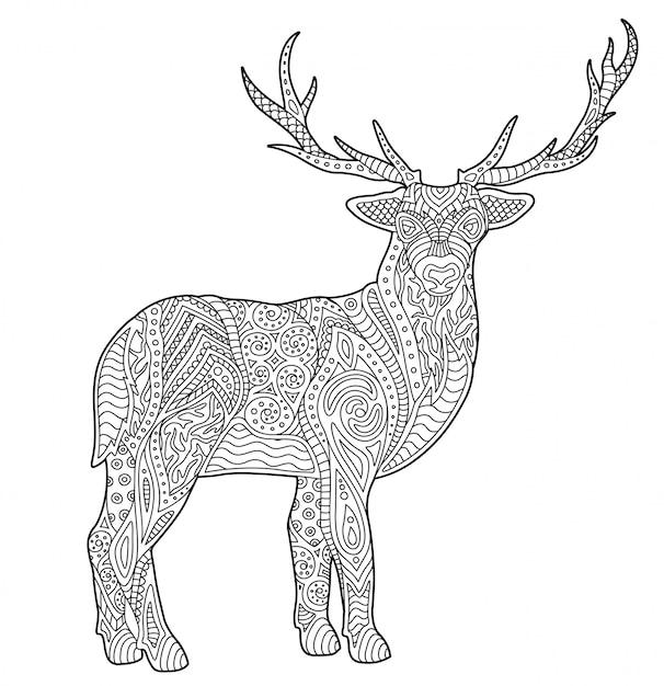 Pagina da colorare per adulti con cervo stilizzato Vettore Premium