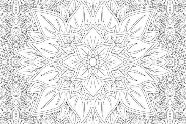 Pagina del libro da colorare con fiore astratto Vettore Premium