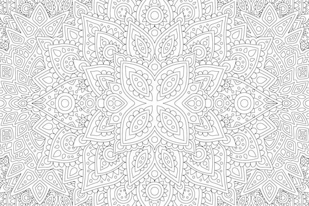Pagina del libro da colorare con motivo astratto lineare Vettore Premium