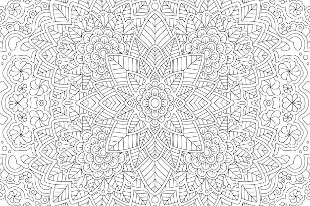 Pagina del libro da colorare con motivo floreale lineare Vettore Premium