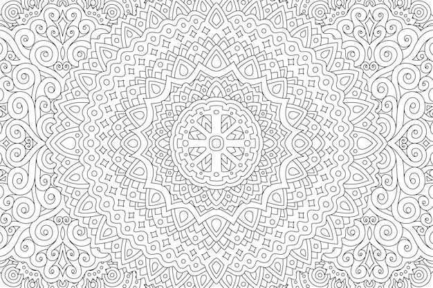 Pagina del libro da colorare con motivo lineare astratto Vettore Premium
