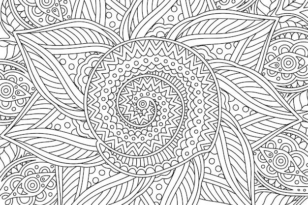 Pagina del libro da colorare con motivo lineare con spirale Vettore Premium