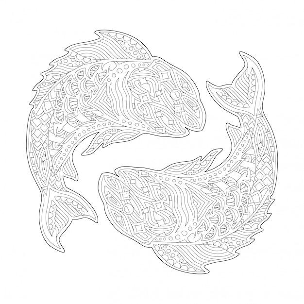 Pagina del libro da colorare con segno zodiacale pesci Vettore Premium
