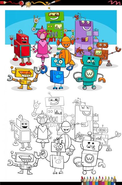 Pagina del libro da colorare dei personaggi di fantasia dei robot del fumetto Vettore Premium