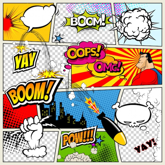 Pagina del libro di fumetti divisa per linee con fumetti Vettore Premium