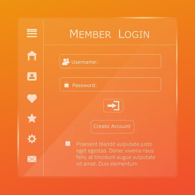 Pagina del modulo di accesso. Vettore Premium