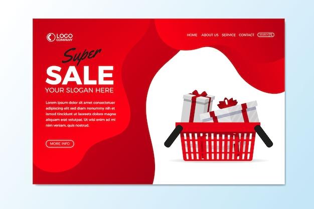 Pagina di atterraggio astratta di vendite con i regali Vettore gratuito