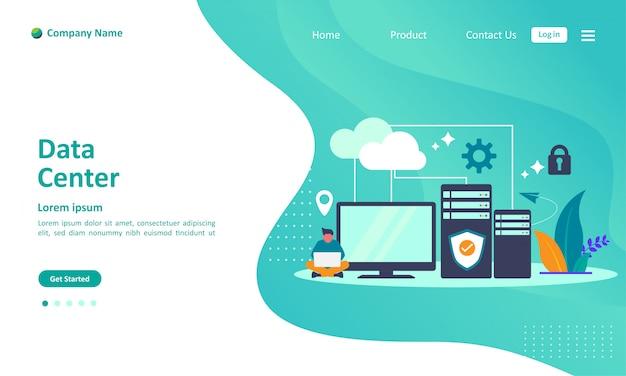 Pagina di atterraggio del cloud computing del data center Vettore Premium