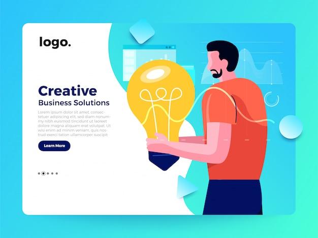 Pagina di atterraggio del lavoratore di concetto di illustrazioni Vettore Premium