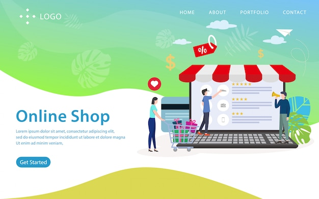 Pagina di atterraggio del negozio online, modello di sito web, facile da modificare e personalizzare, illustrazione vettoriale Vettore Premium